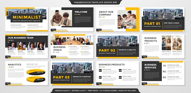 Modelo de layout de apresentação com estilo limpo