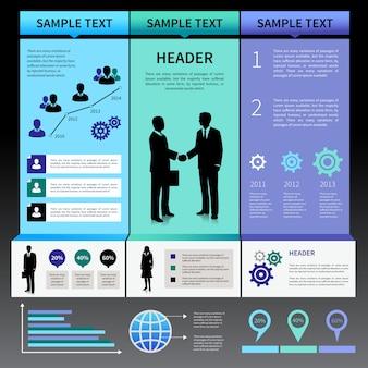 Modelo de layout de apresentação de infográficos com silhuetas de pessoas de negócios e ícones