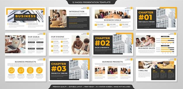 Modelo de layout de apresentação de negócios com estilo minimalista