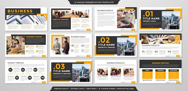 Modelo de layout de apresentação de negócios estilo premium