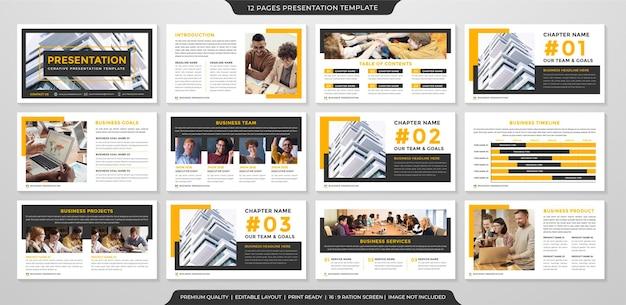 Modelo de layout de apresentação de negócios minimalista com conceito limpo