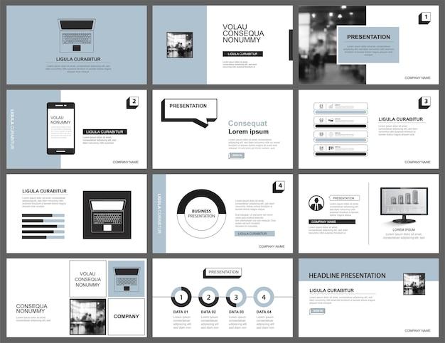 Modelo de layout de apresentação e slide design azul pastel