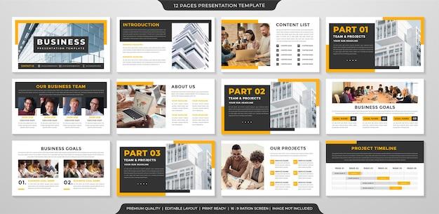 Modelo de layout de apresentação limpo com estilo minimalista