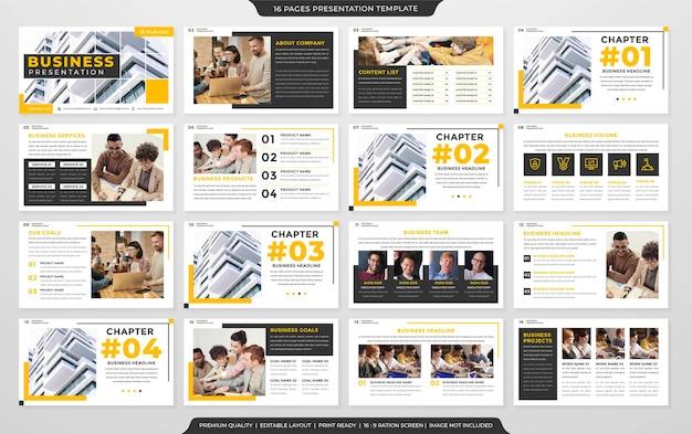 Modelo de layout de apresentação limpo estilo premium