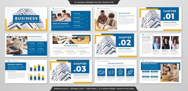 Modelo de layout de apresentação minimalista com estilo moderno e limpo para uso no relatório anual