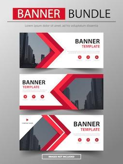 Modelo de layout de banner de negócios de pacote de banner vermelho