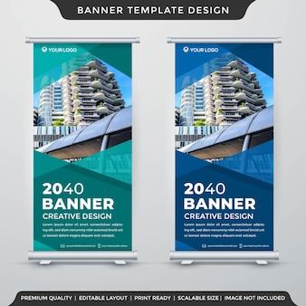 Modelo de layout de banner de suporte estilo premium