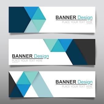 Modelo de layout de banner horizontal negócios azul.