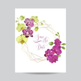 Modelo de layout de convite de casamento com flores da orquídea.