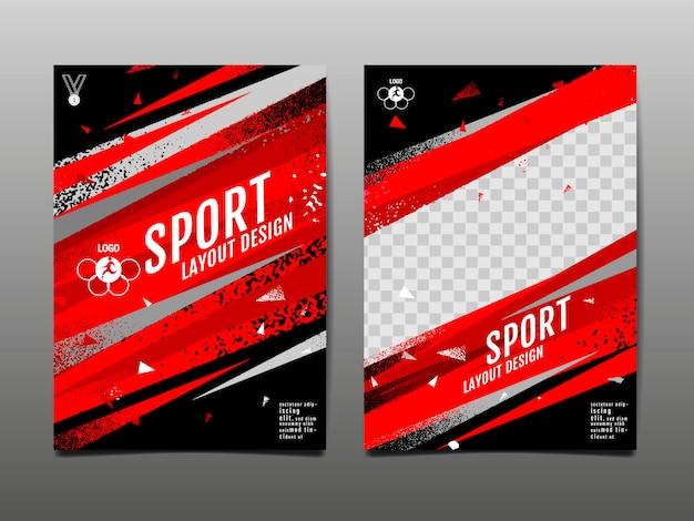 Modelo de layout de esporte grunge abstrato