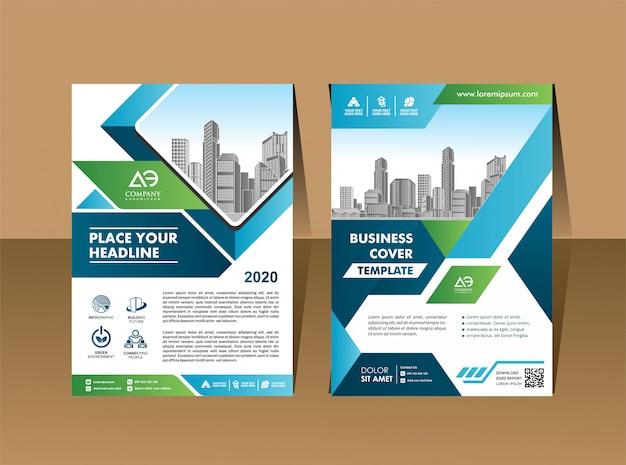 Modelo de layout de folheto corporativo com elementos e espaço reservado