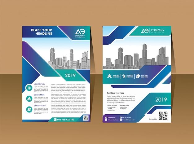 Modelo de layout de folheto corporativo com forma moderna