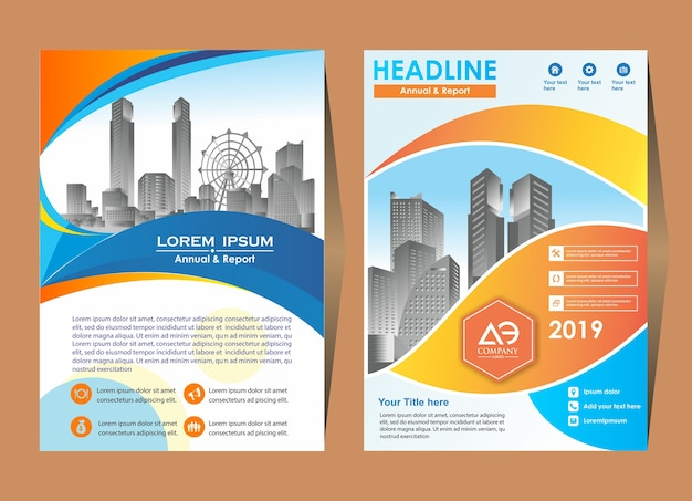 Modelo de layout de folheto folheto com elementos e espaço reservado