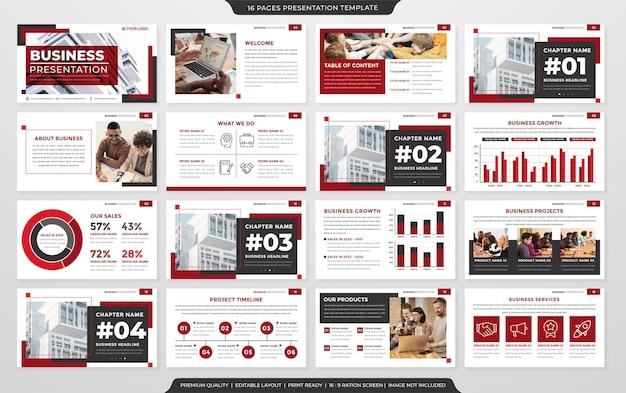 Modelo de layout de powerpoint de negócios estilo premium