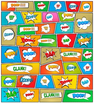 Modelo de layout em branco de estilo pop art quadrinhos.