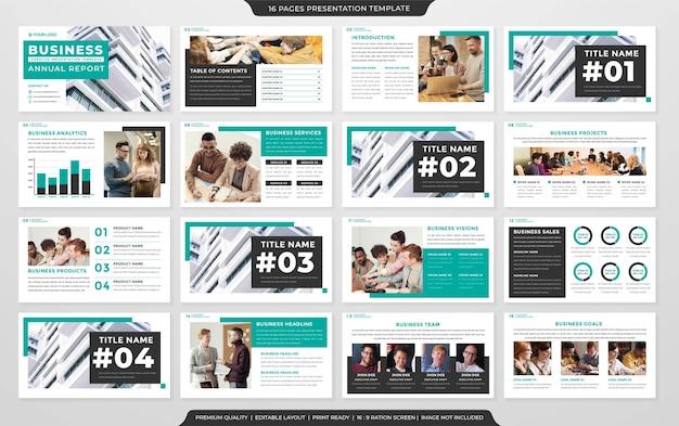 Modelo de layout ppt minimalista estilo premium