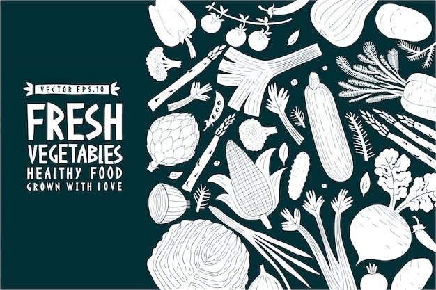 Modelo de legumes desenhada mão dos desenhos animados.