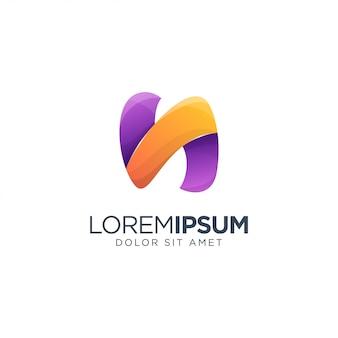 Modelo de letra n logotipo