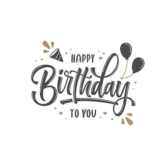 Modelo de letras de feliz aniversário desenhado à mão
