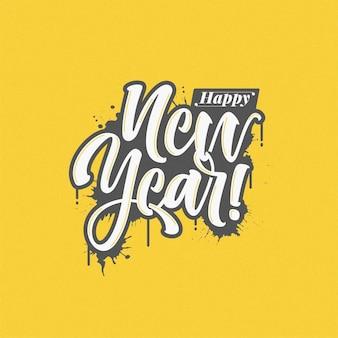 Modelo de letras de feliz ano novo desenhado à mão