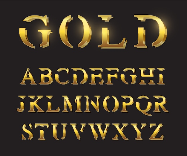 Modelo de letras douradas