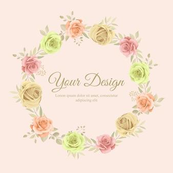 Modelo de lindo quadro floral com enfeite de flores de rosas desenhadas à mão