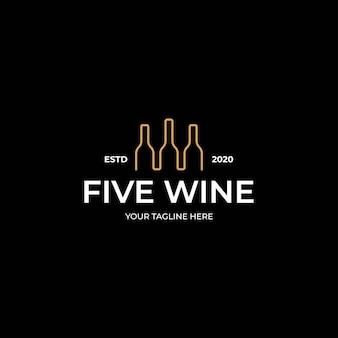 Modelo de linha de arte de logotipo de garrafa de vinho