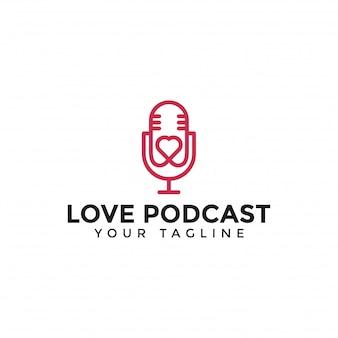 Modelo de linha de logotipo de amor de podcast