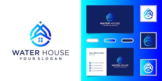Modelo de linha de logotipo de casa de água e cartão de visita