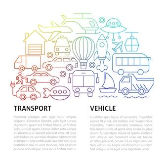 Modelo de linha de transporte. ilustração em vetor de outline design.