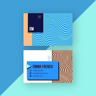 Modelo de linhas distorcidas para cartões de visita