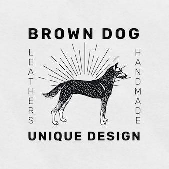 Modelo de linogravura com logotipo de cachorro vintage