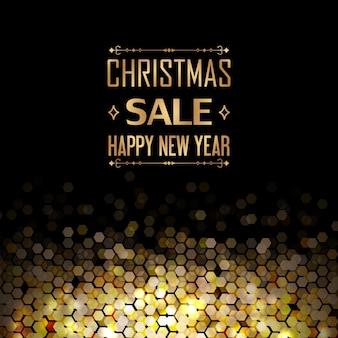 Modelo de liquidação de natal e feliz ano novo com setas decorativas e elementos hexagonais dourados como pentes no preto