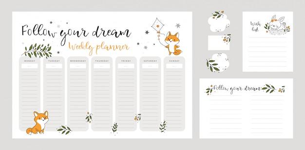 Modelo de lista de desejos, página de planejador semanal com animais fofos de raposa e coelho no estilo cartoon dos desenhos animados