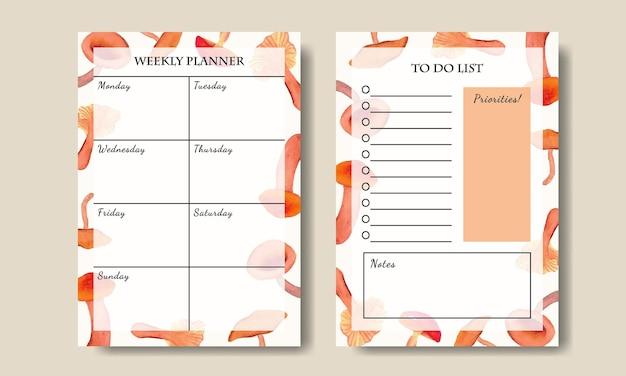 Modelo de lista de tarefas do planejador semanal com fundo de elementos de cogumelo em aquarela pintado à mão para impressão