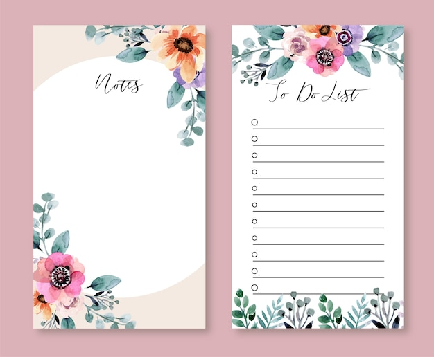 Modelo de lista de tarefas e notas de aquarela floral de primavera