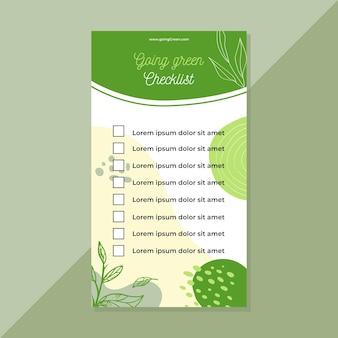 Modelo de lista de verificação verde indo