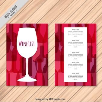Modelo de lista de vinho com fundo colorido