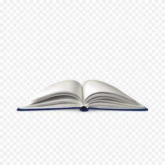 Modelo de livro aberto com páginas em branco