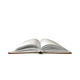 Modelo de livro aberto realista com páginas em branco