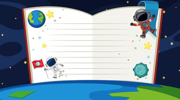 Modelo de livro com tema de espaço