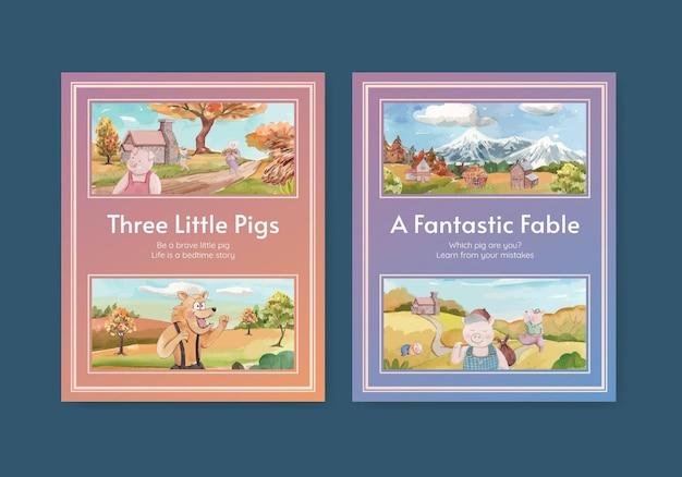 Modelo de livro de capa com três porquinhos fofos, estilo aquarela