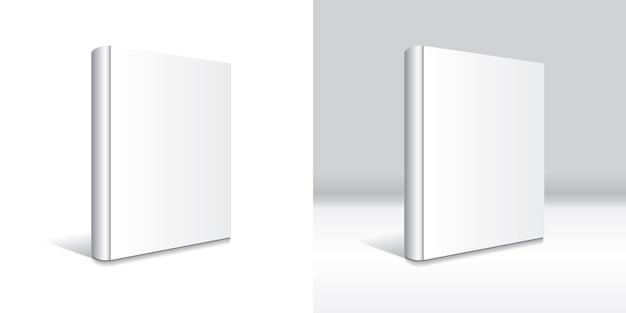 Modelo de livro de capa dura branco em branco isolado.
