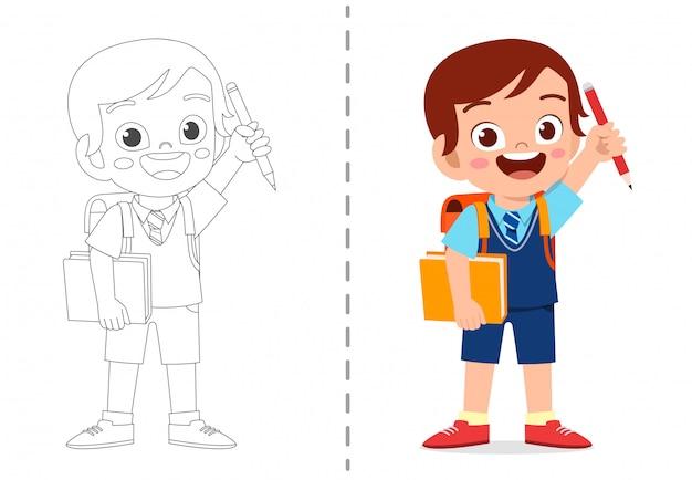 Modelo de livro de colorir bonito dos desenhos animados para crianças Vetor Premium