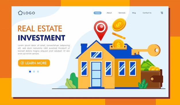 Modelo de lllustration de página de destino de investimento imobiliário