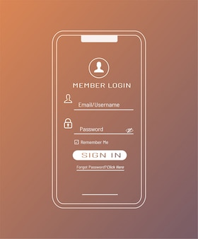 Modelo de login de membro no smartphone
