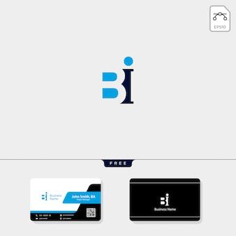 Modelo de logo inicial bi, libere seu design de cartão de visita
