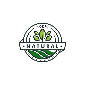 Modelo de logotipo 100% natural. folha ícone símbolo vetor logotipo