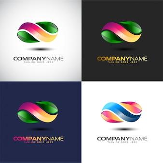 Modelo de logotipo 3d infinity abstrata para sua marca de empresa