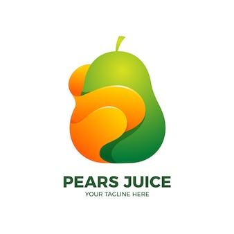 Modelo de logotipo 3d para suco de pêra e frutas frescas